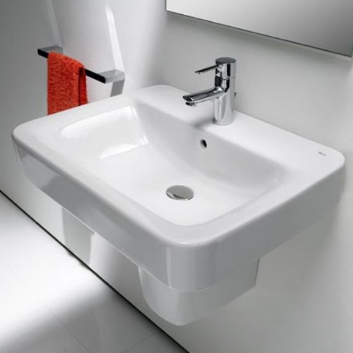 Roca The Gap Square Basin With Semi Pedestal - 650mm - 1 Tap Hole - White
